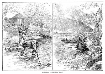 Salmon Painting - Fishing, 1887 by Granger