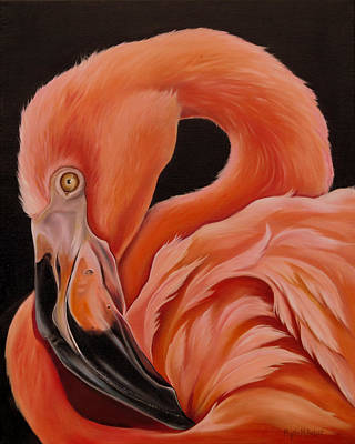 Greater Flamingo Painting - Flamingo Portrait by Phyllis Beiser