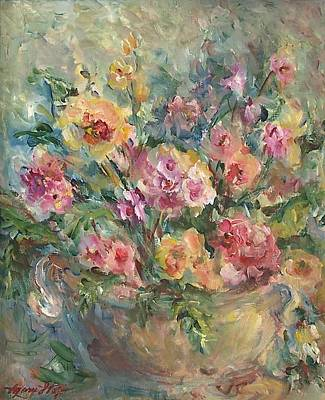 Bouquets Of Pink Flowers Green Blue Painting - Floral Painting by Mary Wolf