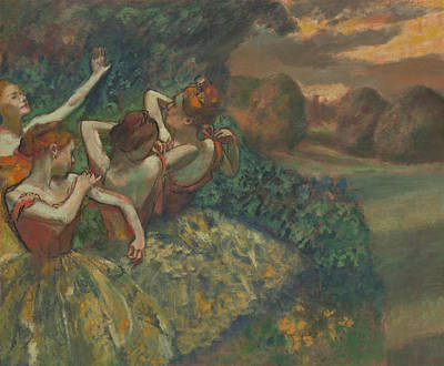 Dancer Painting - Four Dancers by Edgar Degas
