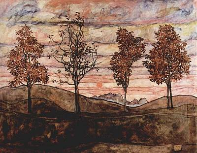 Sun Painting - Four Trees by Celestial Images