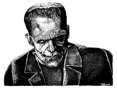 Frankenstein Drawing - Frankenstein Monster by Joseph Capuana