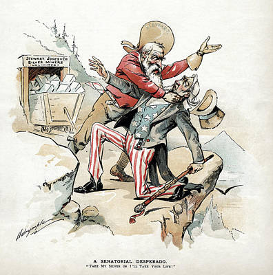 Uncle Sam Painting - Free Silver Cartoon, 1893 by Granger