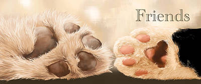 Dog Paw Painting - Friends by Veronica Minozzi