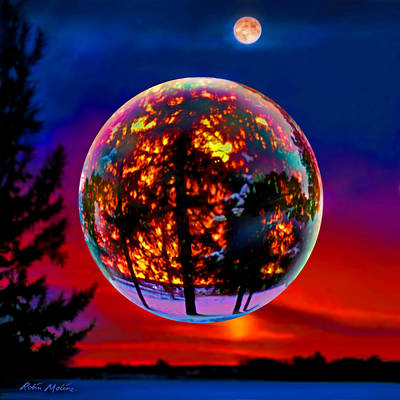 Art Glass Painting - Full Moon Over New Richmond Sunset by Robin Moline