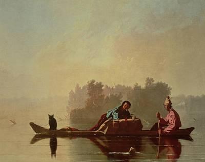 Fur Traders Descending The Missouri Print by George Caleb Bingham
