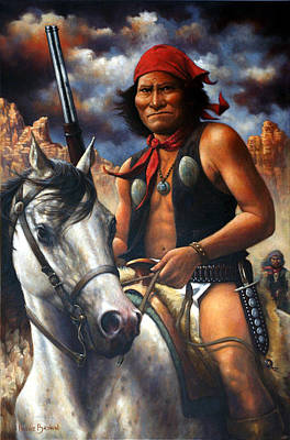 Indian Warrior Painting - Geronimo by Harvie Brown