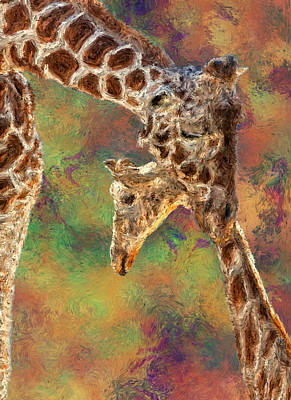 Giraffes - Happened At The Zoo Print by Jack Zulli