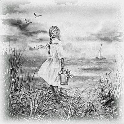Black And White Birds Painting - Girl And The Ocean by Irina Sztukowski