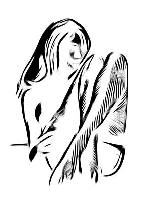 Lingerie Digital Art - Girl In Stockings by Stefan Kuhn