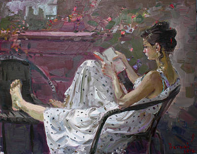 Balconies Painting - Girl Reading by Ylli Haruni