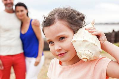 Girl With Seashell Print by Ian Hooton