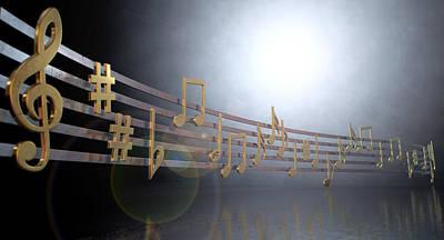 Treble Digital Art - Gold Music Notes On Wavy Lines by Allan Swart
