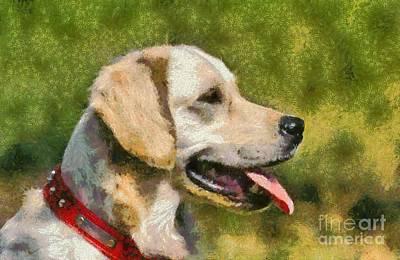 Dog Painting - Golden Retriever Portrait by George Atsametakis