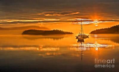 Golden  Sunrise Print by Robert Bales