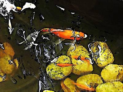 Goldfish Digital Art - Goldfish Pond by Sarah Loft
