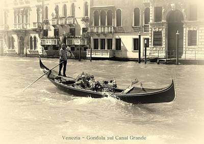 Gondolier Photograph - Gondola On The Grand Canal by Bishopston Fine Art