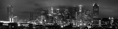 Gotham City - Los Angeles Skyline Downtown At Night Print by Jon Holiday