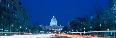 Washington Dc Street Scene Photograph - Government Building Lit Up At Dusk by Panoramic Images
