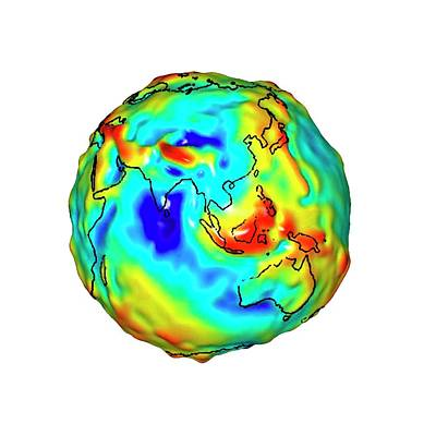 Gravity Map Of Earth Print by Nasa/jpl/university Of Texas Center For Space Research