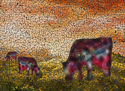 Calf Digital Art - Grazing  by Jack Zulli