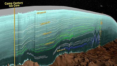 Greenland Ice Sheet Stratigraphy Print by Nasa/scientific Visualization Studio