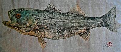 Gyotaku - Striped Bass - Rock Fish - Striper Print by Jeffrey Canha