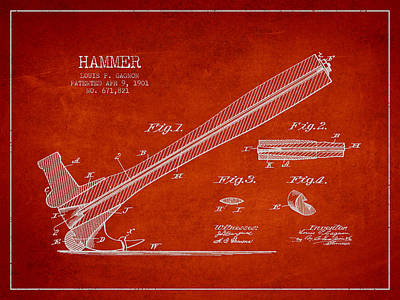 Woodworking Print featuring the drawing Hammer Patent Drawing From 1901 by Aged Pixel