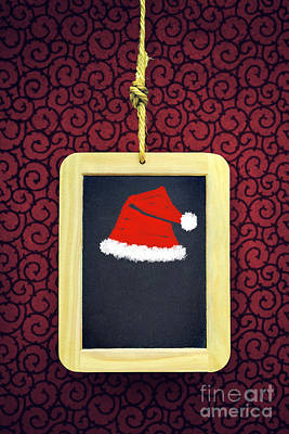 Hanged Xmas Slate - Santa's Cap Print by Carlos Caetano