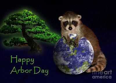 Forestry Mixed Media - Happy Arbor Day Raccoon by Jeanette K