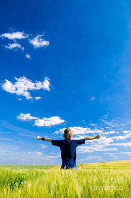 Joy Photograph - Happy Man With Arms Up by Michal Bednarek