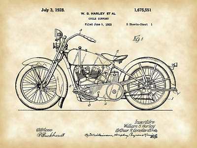 Cruiser Digital Art - Harley Davidson Motorcycle Patent 1925 - Vintage by Stephen Younts