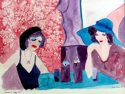 Glass Of Wine Mixed Media - Harlots At Happy Hour by Loretta Moore