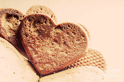 Cake Photograph - Heart Shaped Gingerbread Cookies by Michal Bednarek
