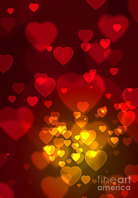 Wishes Photograph - Hearts Background by Carlos Caetano