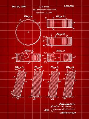 Hockey Puck Patent 1940 - Red Print by Stephen Younts