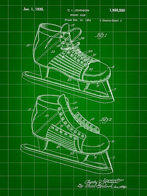 Hockey Shoe Patent 1934 - Green Print by Stephen Younts