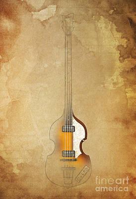 Hofner Digital Art - Hofner Bass - Paul Mccartney Bass by Pablo Franchi
