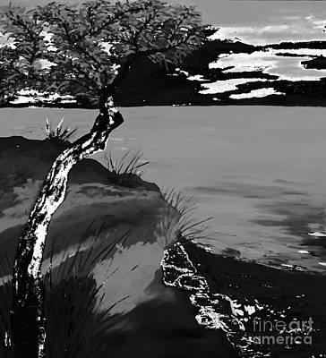 Horizon In Black And White Print by Loredana Messina