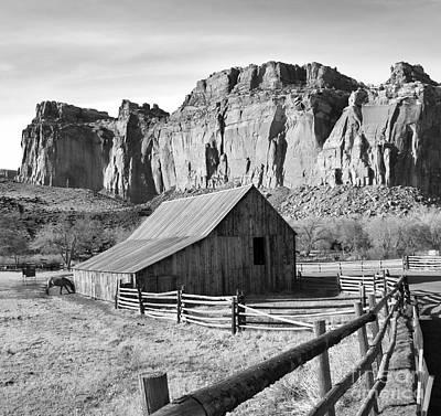 Split Rail Fence Photograph - Horse Barn In Fruita Utah by Jack Schultz