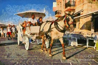 Horses Painting - Horse Carriage by George Atsametakis
