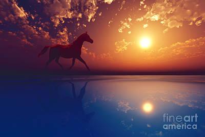 Cloudscape Digital Art - Horse Walk Silhouette by Aleksey Tugolukov