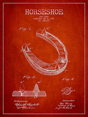 Horseshoe Patent Drawing From 1881 Print by Aged Pixel