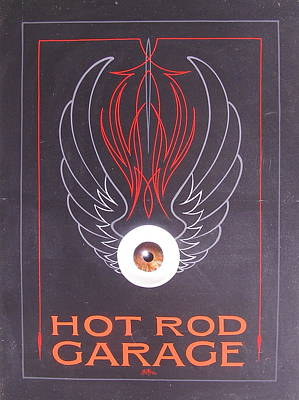 Pinstripes Painting - Hot Rod Garage by Alan Johnson