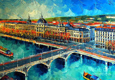 Reflections Of Sky In Water Painting - Hotel Dieu De Lyon by Mona Edulesco
