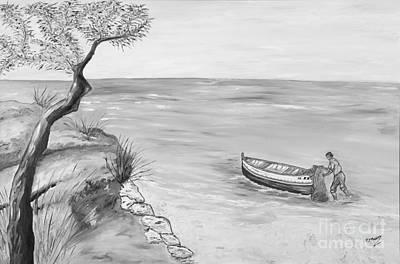 Il Pescatore Solitario Print by Loredana Messina