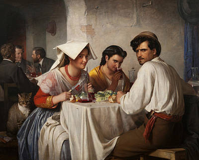 Carl Bloch Painting - In A Roman Osteria by Carl Bloch