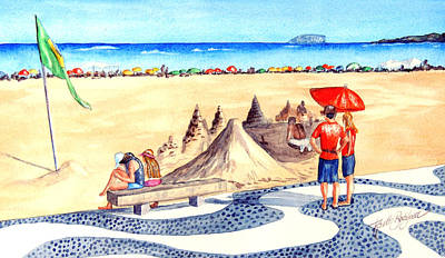 Sand Castles Painting - Ipanema-sand Castles by Ruth Bodycott
