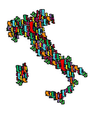 Hearts Digital Art - Italy Map by Mark Ashkenazi