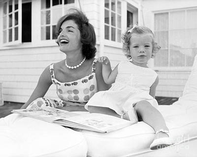 Cape Cod Photograph - Jacqueline And Caroline Kennedy At Hyannis Port 1959 by The Phillip Harrington Collection